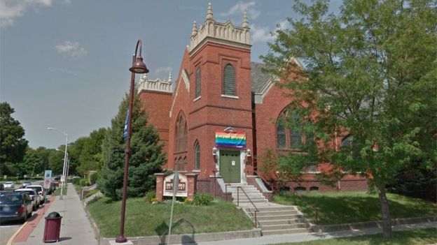 A Igreja United Church of Christ, no centro de Ames