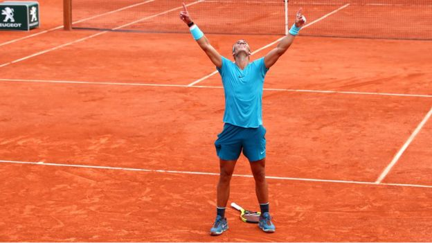 Rafael Nadal celebrates his victory in Paris