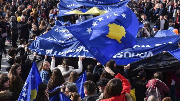 Демонстрация по случаю 9-й годовщины провозглашения независимости Косова