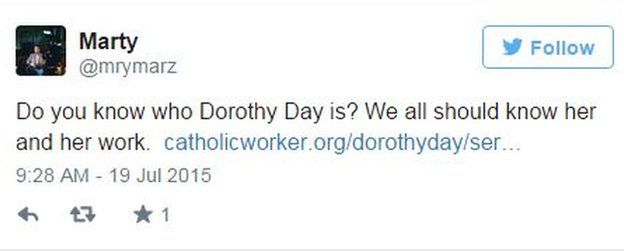 Tweet by @mrymarz about Dorothy Day on 24 September 2015