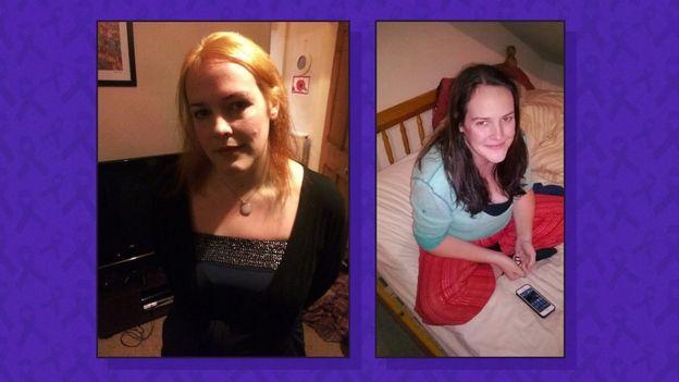 Becky en dos fotografías con una diferencia de peso notable.