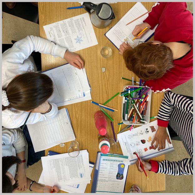 Kids studying English
