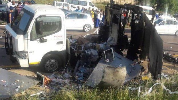A partially destroyed cash-in-transit van in South Africa
