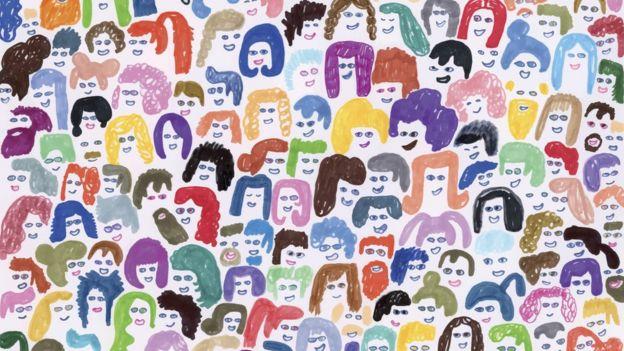 Ilustração mostra dezenas de rostos de pessoas com cores e características diferentes