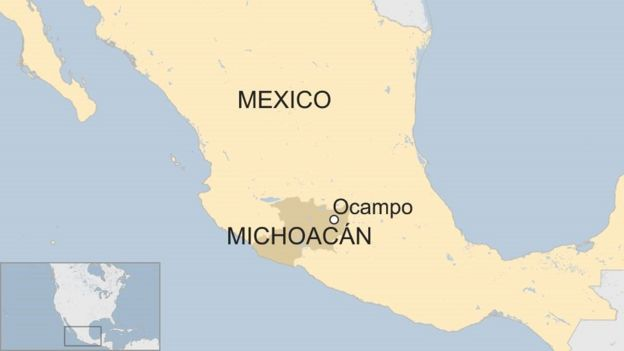 Michoacan State Map.Mexico Town S Entire Police Force Detained After Murder Bbc News