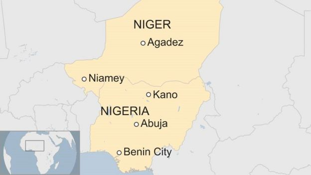 Map showing Nigeria and Niger