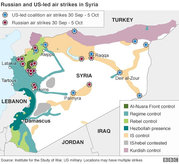Syria Crisis Russias Strategy And Endgame BBC News - Us russia map