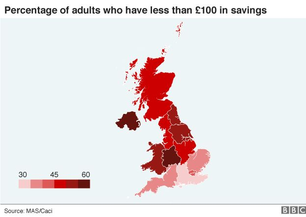 map of savers in UK