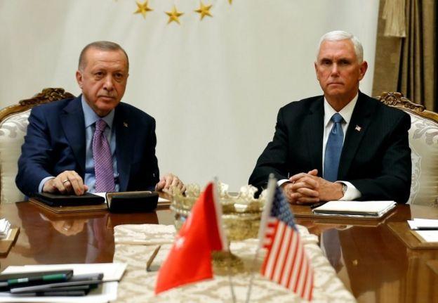 Cumhurbaşkanı Recep Tayyip Erdoğan ve ABD Başkan Yardımcısı Mike Pence