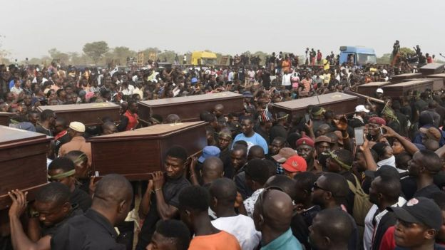 A funeral for those who died in farmer-herder conflict in Makurdi, Benue State, January 2018