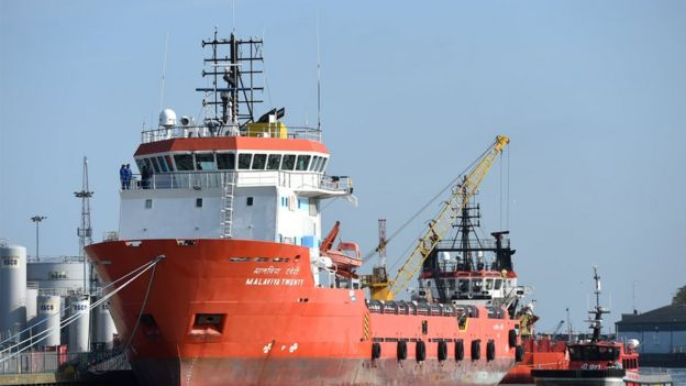 Indian supply vessel Malaviya Twenty in port at Great Yarmouth