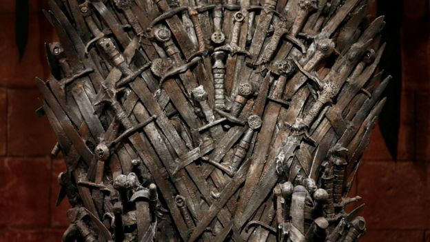 The Iron Throne on set in Northern Ireland