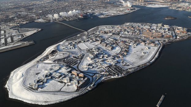 Rikers Island in the snow