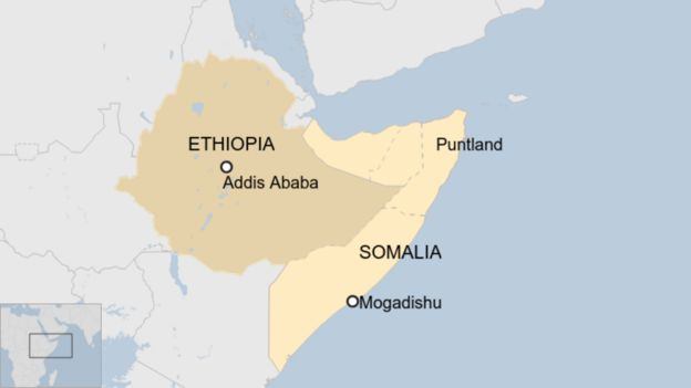 Map showing location of Ethiopia and Somalia