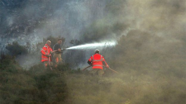 Firefighters tackle moorland fire