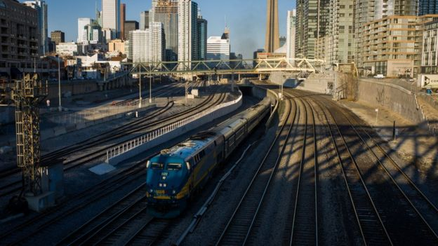 VIA Rail train leaves Union Station, the heart of VIA Rail travel, bound for Windsor on April 22, 2013 in Toronto, Ontario, Canada.