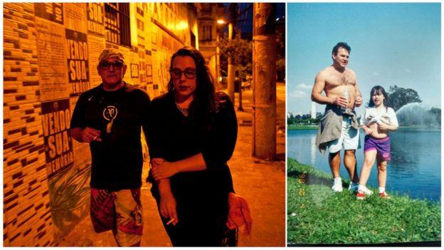 Mylena e o pai hoje e no passado