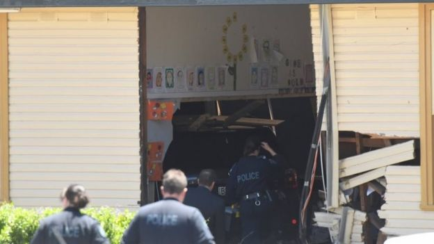 Police investigate the crash in the Sydney suburb of Greenacre on Tuesday