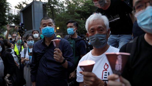 """黎智英今年6月在香港维园悼念""""六四事件"""",之后被香港警方以""""非结集结""""罪被捕。"""