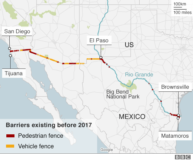 A map showing border barriers along the US-Mexico border