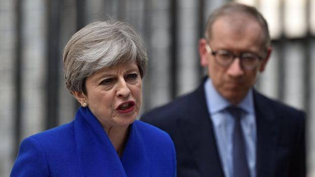 Theresa May speaks to the nation outside Downing Street