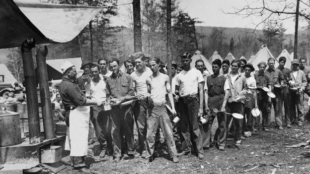 Trabajadores durante la Gran Depresión.