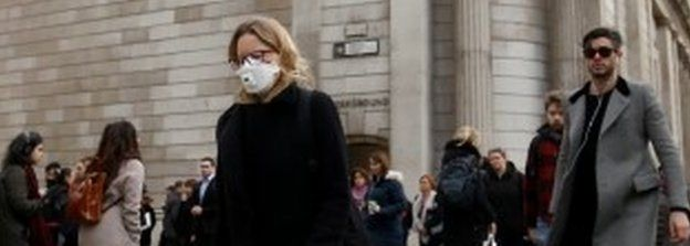 Woman wearing mask in central London