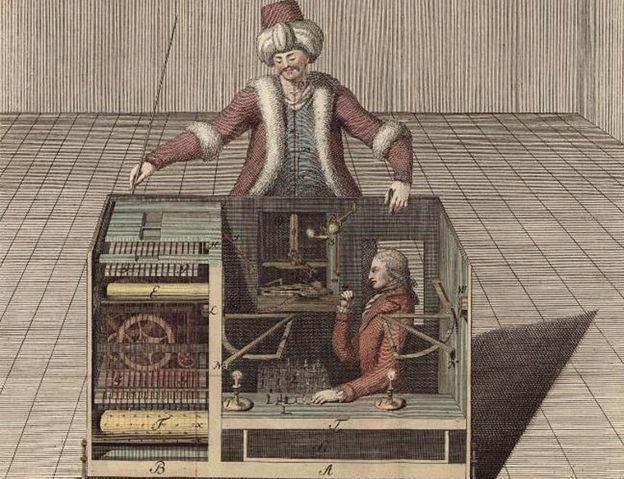 Imagen de un libro en el que trataron de explicar la máquina del turco que jugaba ajedrez, tras reconstruir el artilugio en 1789. Joseph Racknitz