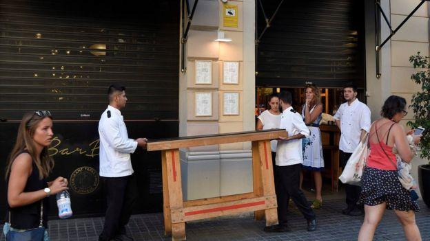 Restaurante en Las Ramblas cerrando