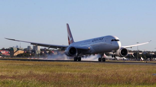 Qantas Boeing 787 Dreamliner plane landS at Sydney international airport after completing a non-stop test flight from New York