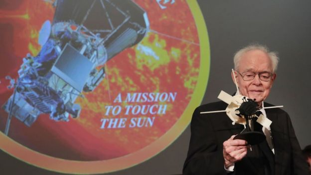 University of Chicago astrophysicist Dr Eugene Parker is presented with a model of the Parker Solar Probe at an event in May 2017