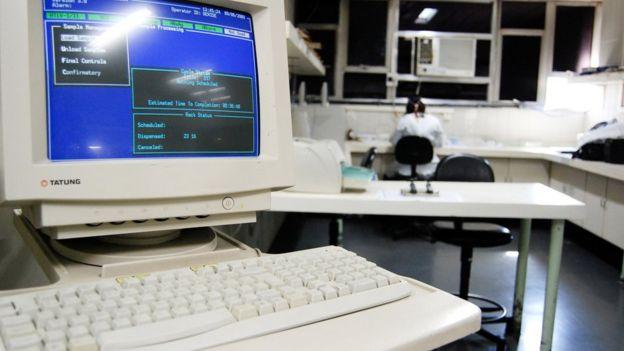 Tela de computador de Instituto Hemorio