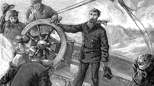Ilustração de marinheiros ao mar; um dos homens está conduzindo o leme da embarcação