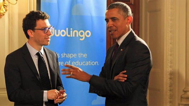 Luis von Ahn meeting President Obama