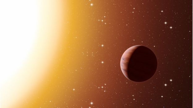 Ilustración de un Júpiter caliente.