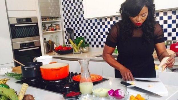 Fafa Gilbert in her kitchen
