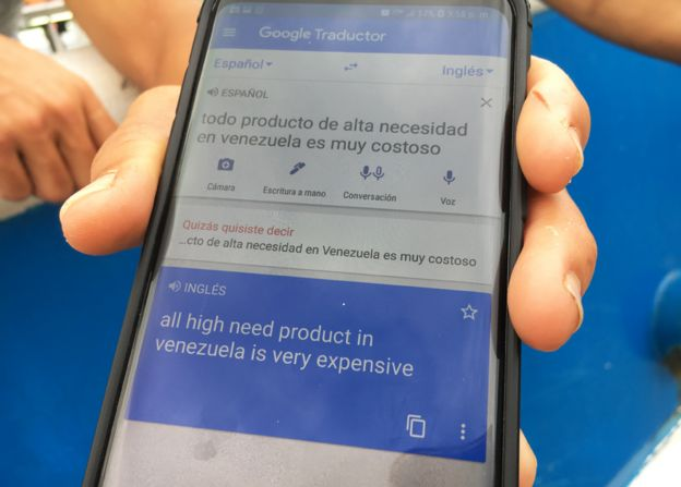 Via Google Translate, a refugee explains that essential goods in Venezuela are now costly