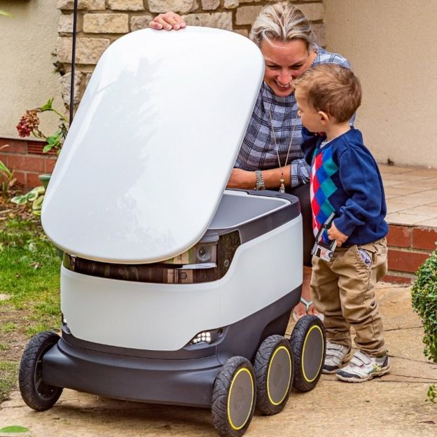 One of the robots delivering items