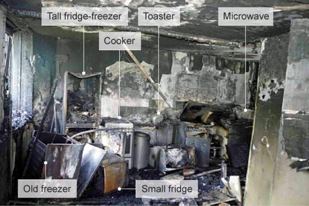 Images from the kitchen of flat 16 show the positioning of the kitchen appliances and the window.