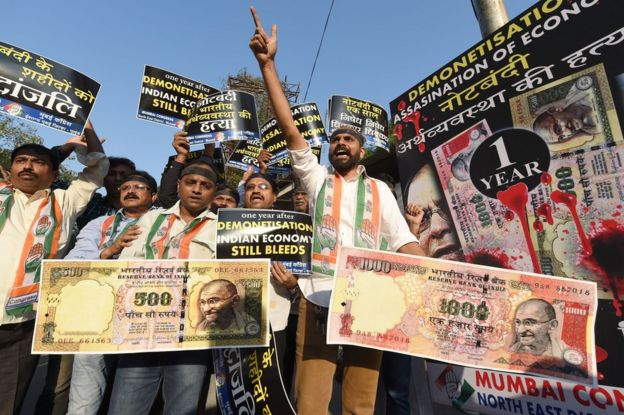 Indian Congress party supporters protest on the eve of the first anniversary of India's currency ban scheme in Mumbai