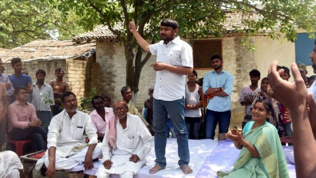 Kanhaiya Kumar CPI Candidate for Begusarai Lok Sabha seat addresses people of rural area on April 2, 2019 in Begusarai, India.