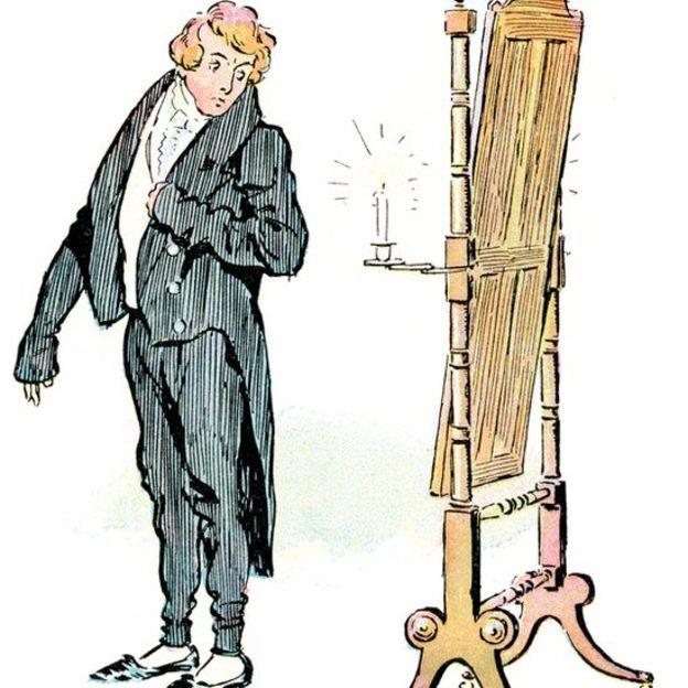 Ilustração mostra homem se olhando em espelho de corpo inteiro