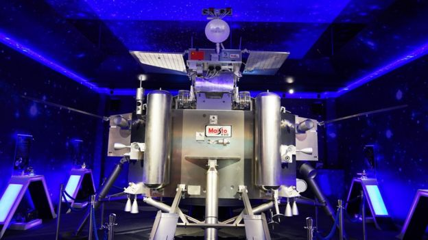 A mock-up of the Chang'e-4 lander and rover, on display in Dongguan, China