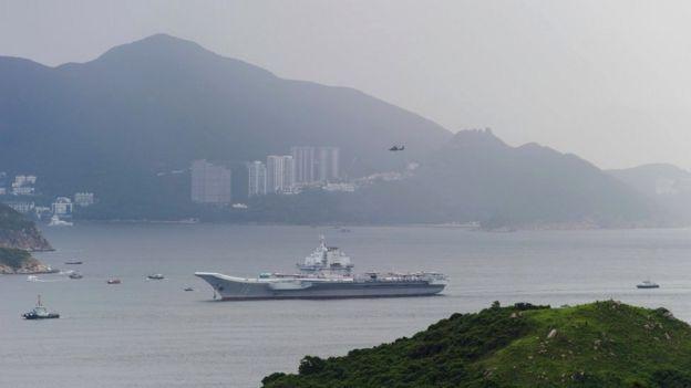 The Liaoning entering Hong Kong port