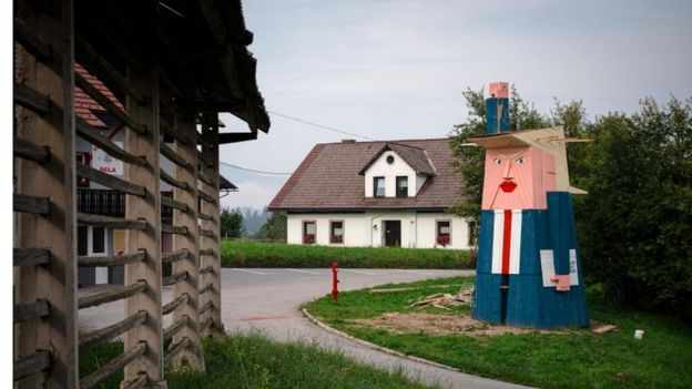 Wooden effigy of Donald Trump in Slovene village of Sela pri Kamniku. 29 August 2019
