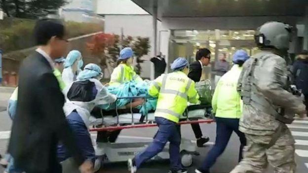 Mwanajeshi wa Korea Kaskazini akikimbizwa hospitalini Korea Kusini