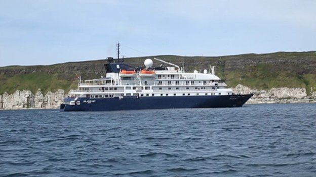 One of the cruise liners visiting Rathlin Island which has a reputation as a bird sanctuary