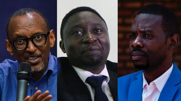 Paul Kagame, Frank Habineza and Philippe Mpayimana