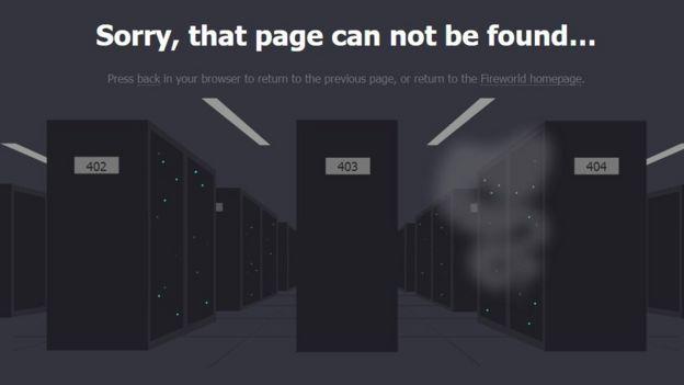 Captura de tela mostra página da empresa Fireworld que diz