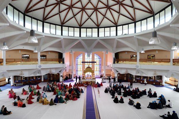 Matrimonio en el templo de Southall, en el oeste de Londres, en 2017.